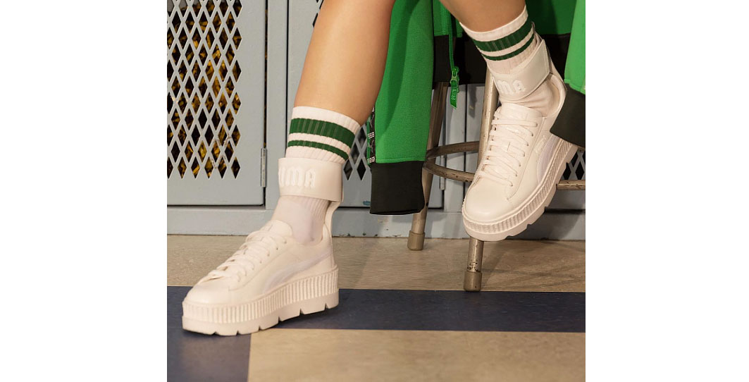 Rihanna Is About To Drop An All-White Fenty PUMA Ankle Strap Creeper ... c4b74f85c