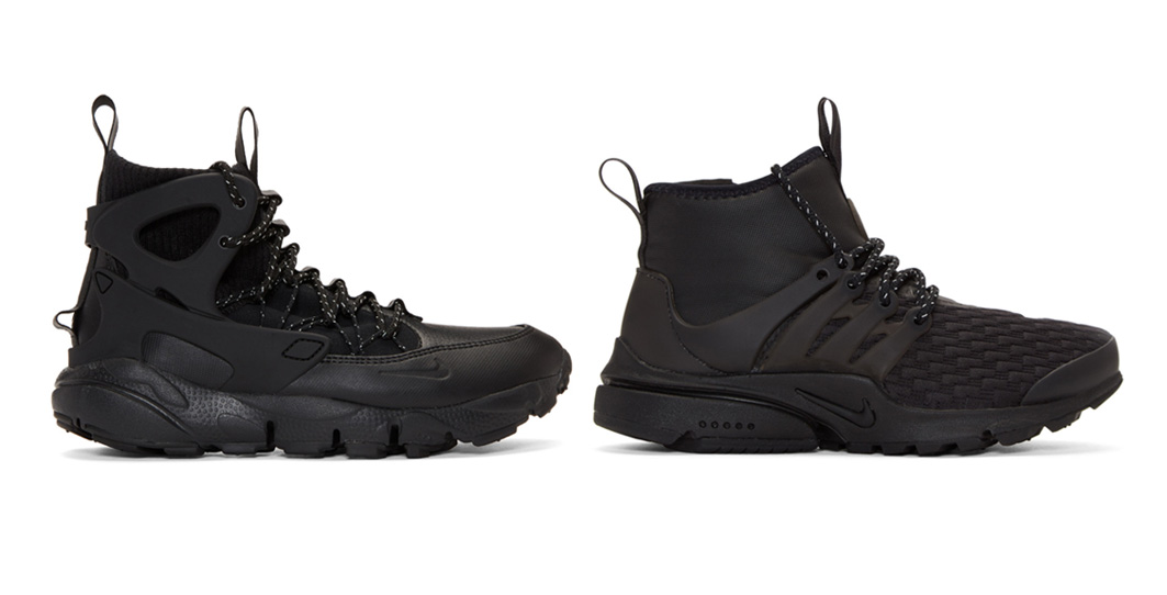 Black air footscape mid utility sneakers