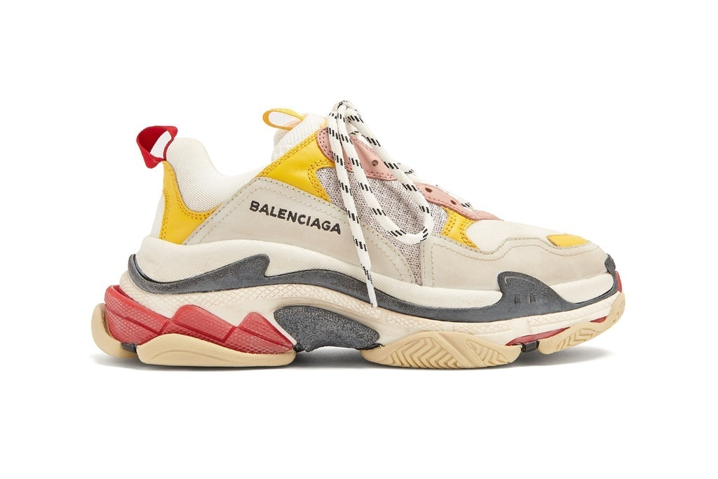 Balenciaga triple s trainer red yellow grey cream white 0