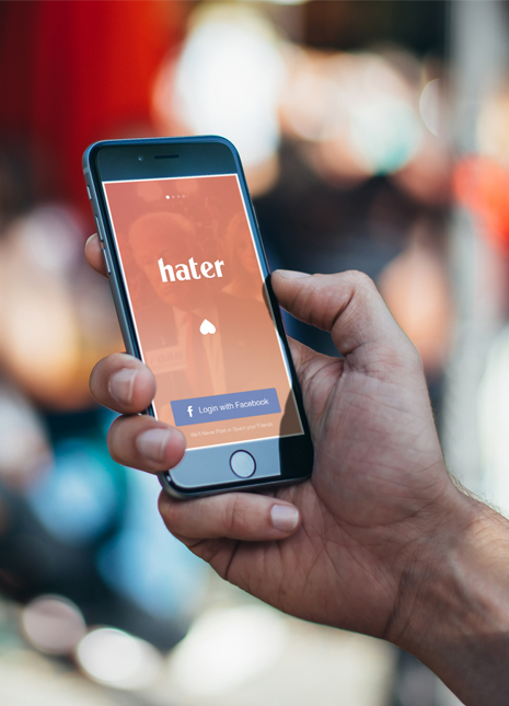 Haters app front page