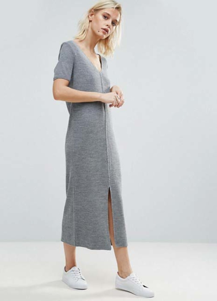 Asos ribbed grey maxi dress kylie jenner get the look