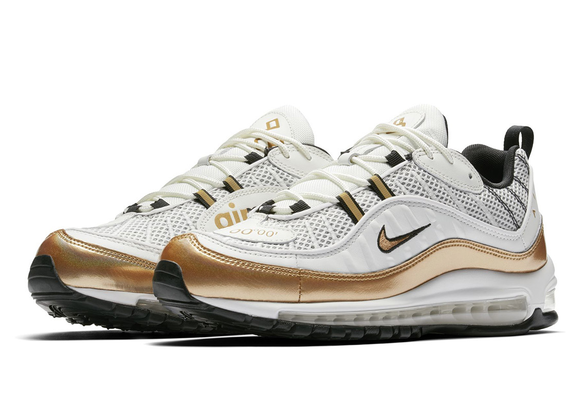 "Get Ready To Shine In Nike's White & Gold Air Max 98 ""UK"""