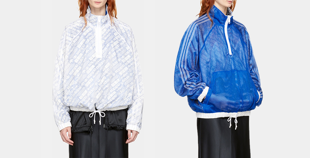 Adidas originals by alexander wang reversible white and blue aw windbreaker jacket4