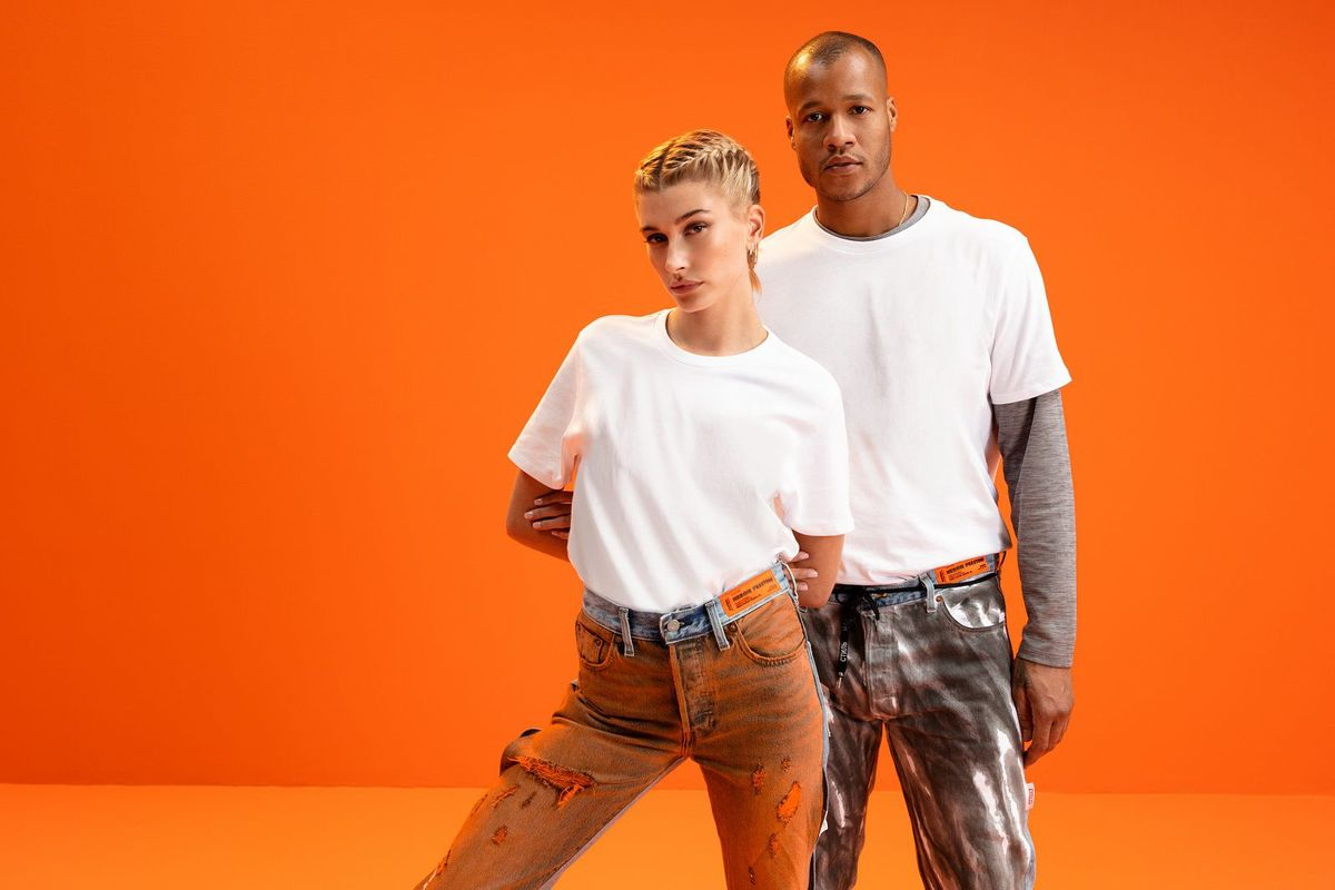 Hailey Bieber Debuts Heron Preston X Levi's New Limited Edition Collection