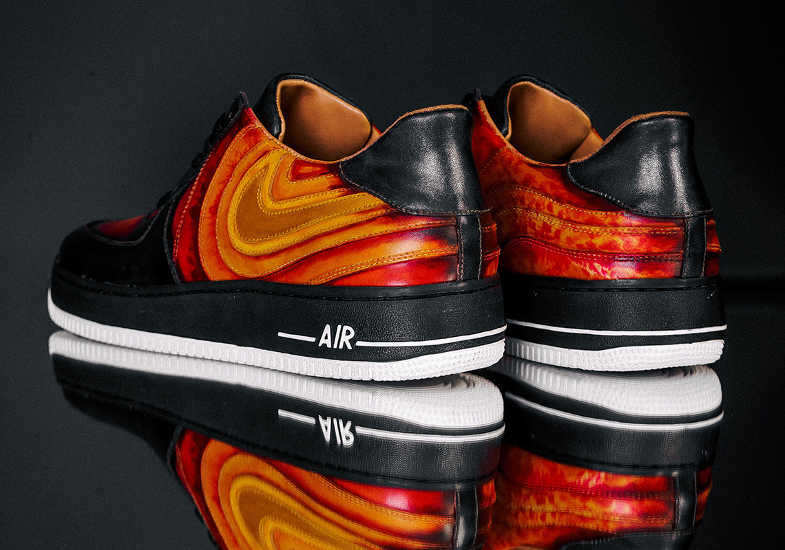 "JBF Customs ignites Nike Air Force 1 ""Solar Flare"" with new Swoosh design"