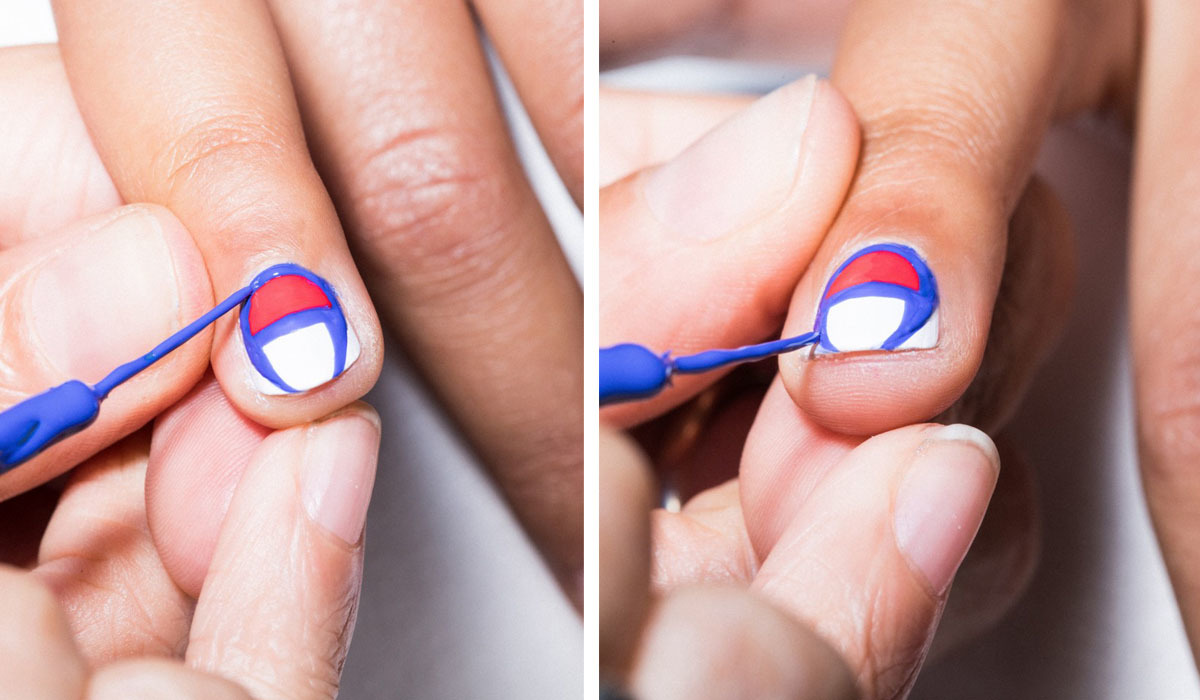 How to super easy kith x champion collaborative nail art the cuticle is just the right curve to trace all you need to do is follow the shape around to the end of the nail in a horseshoe shape to complete prinsesfo Gallery